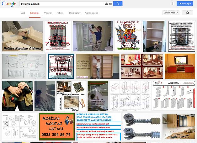 """Google'da """"mobilya kurulum"""" aramasının sonuçları."""